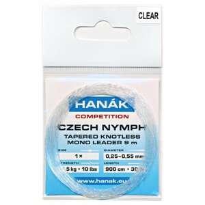 HANÁK Návazec Competition Czech Nymph monofilní ujímaný 9 m Čirý 0,25 - 0,55 mm 4,5 kg