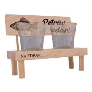 Bg dřevěná lavička s pohárky pro rybáře - petrův zdar