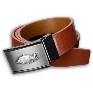 Kožený opasek 35 mm s kovovou přezkou kapr - hnědý - délka 100 cm