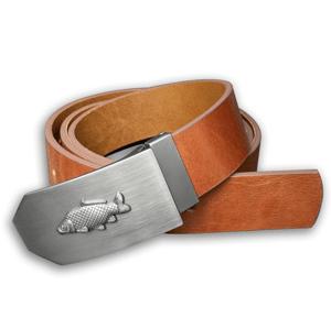 Kožený opasek 40 mm s kovovou přezkou kapr - hnědý - délka 100 cm (92,5 cm - 107,5 cm)