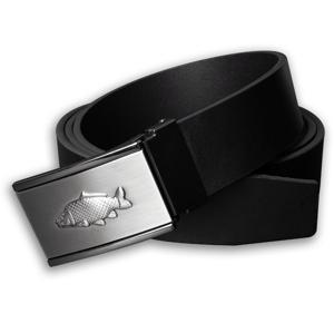 Kožený opasek 35 mm s kovovou přezkou kapr - černý - délka 100 cm