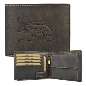 Kožená rybářská peněženka kapr tmavě hnědá