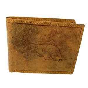Kožená rybářská peněženka kapr - světle hnědá