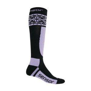 Podkolenky Sensor Thermosnow Norway Velikost ponožek: 35-38 / Barva: černá/fialová