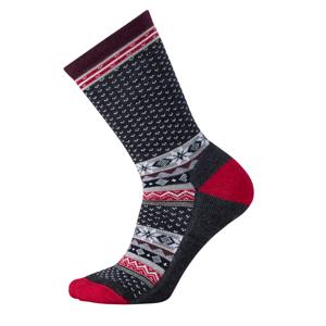 Dámské ponožky Smartwool W Cozy Cabin Crew Velikost ponožek: 38-41 / Barva: šedá/červená