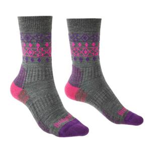 Dámské ponožky Bridgedale Hike LW MP Boot Velikost ponožek: 38-40 / Barva: šedá/růžová
