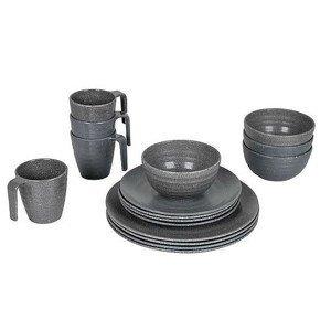 Sada nádobí Bo-Camp Tableware 100% Melamine Stone Barva: šedá
