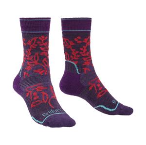 Dámské ponožky Bridgedale Hike MW MP Boot Women's Velikost ponožek: 38-40 / Barva: tmavě fialová/růžová