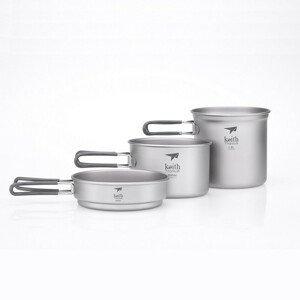 Sada nádobí Keith Titanium 3-Piece Titanium Cook Set Barva: šedá