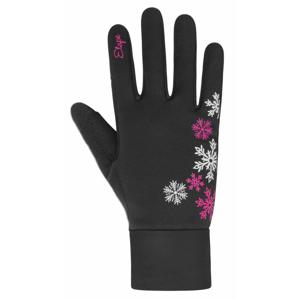 Dětské rukavice Etape Puzzle WS Velikost rukavic: 13-14 / Barva: černá/růžová