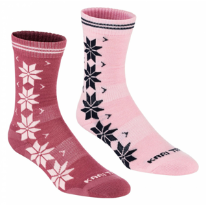 Ponožky Kari Traa Vinst Wool Sock 2PK Velikost ponožek: 36-38 / Barva: růžová