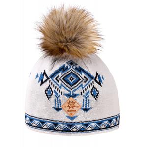 Pletená Merino čepice Kama A139 Barva: bílá/modrá