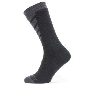 Ponožky SealSkinz WWW Mid Length Sock Velikost ponožek: 47-49 / Barva: šedá/černá
