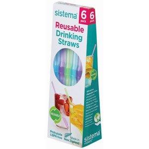 Brčka Sistema Reusable Drinking Straws 6 Pack Barva: mix barev