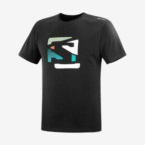 Pánské triko Salomon Outlife Graphic Disrupted Logo Ss Tee M Velikost: M / Barva: černá