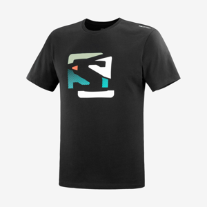 Pánské triko Salomon Outlife Graphic Disrupted Logo Ss Tee M Velikost: XL / Barva: černá