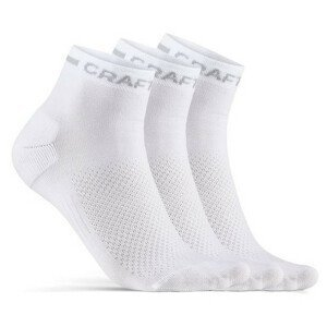 Ponožky Craft Core Dry Mid 3-Pack Velikost ponožek: 37-39 / Barva: bílá