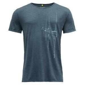 Pánské triko Devold Langfjorden Man Tee Velikost: M / Barva: tmavě modrá