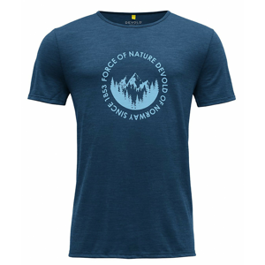 Pánské triko Devold Leira Man Tee Velikost: M / Barva: modrá