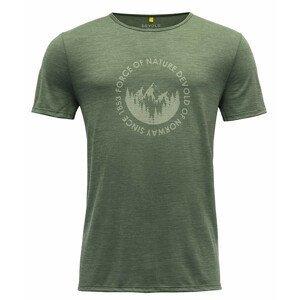 Pánské triko Devold Leira Man Tee Velikost: M / Barva: zelená