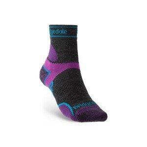 Dámské ponožky Bridgedale LW T2 MS 3/4 Crew Women's Velikost ponožek: 38-40 / Barva: černá/fialová