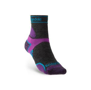 Dámské ponožky Bridgedale LW T2 MS 3/4 Crew Women's Velikost ponožek: 41-43 / Barva: černá/fialová