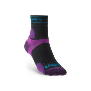 Dámské ponožky Bridgedale UL T2 MS 3/4 Crew Women's Velikost ponožek: 35-37 / Barva: černá/fialová