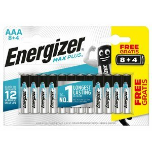 Baterie Energizer Max Plus AAA/12 8+4 zdarma Barva: stříbrná