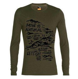 Pánské triko Icebreaker 200 Oasis Ls Crewe Travel Diaries Velikost: XL / Barva: tmavě zelená