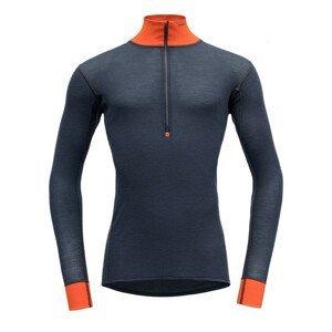 Pánské funkční triko Devold Wool Mesh Man Half Zip Neck Velikost: M / Barva: černá/oranžová
