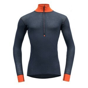 Pánské funkční triko Devold Wool Mesh Man Half Zip Neck Velikost: XXL / Barva: černá/oranžová