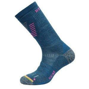 Dámské ponožky Devold Hiking Medium Woman Sock Velikost ponožek: 38-40 / Barva: modrá/růžová