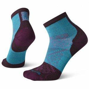 Cyklistické ponožky Smartwool Performance Cycle Zero Cushion Ankle Velikost ponožek: 34-37 / Barva: tyrkys/víno