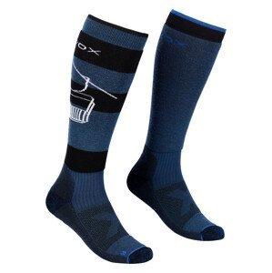 Pánské podkolenky Ortovox Free Ride Long Socks Velikost ponožek: 39-41 / Barva: modrá