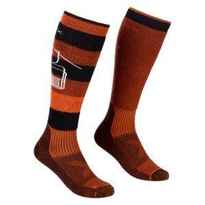Pánské podkolenky Ortovox Free Ride Long Socks Velikost ponožek: 42-44 / Barva: červená