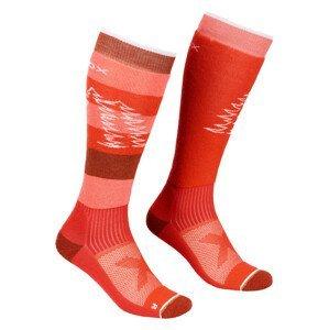 Dámské ponožky Ortovox W's Free Ride Long Socks Velikost ponožek: 35-38 / Barva: červená