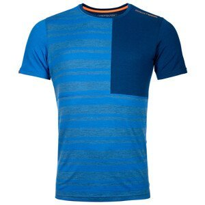 Pánské funčkní triko Ortovox 185 Rock'N'Wool Short Sleeve Velikost: L / Barva: modrá