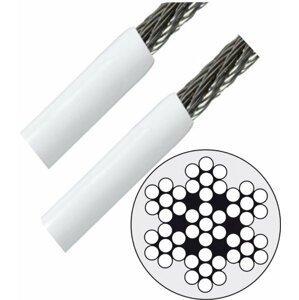 Lindemann Nerezové lanko AISI316 7x7 - 4 / 6mm v bílém PVC obalu