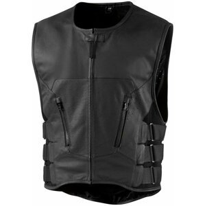 ICON - Motorcycle Gear Regulator D3O Stripped Leather Vest Black L/XL