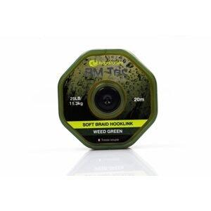 RidgeMonkey Šňůrka RM-Tec Soft Braid Hooklink 25lb 20m - Weed Green