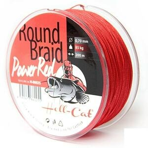 Hell-Cat Splétaná šňůra Round Braid Power Red 200m - 0,70mm