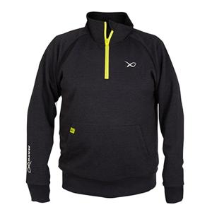 Matrix Mikina Minimal Black Marl 1/4 ZIP Sweater - XL