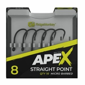 RidgeMonkey Háčky Ape-X Straight Point Barbed 10ks - vel. 4