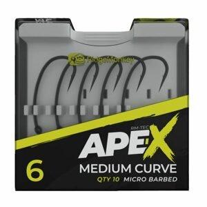 RidgeMonkey Háčky Ape-X Medium Curve Barbed 10ks - vel. 6