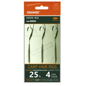 3ks - Hotový Návazec Life Orange Carp Hair Rigs S5 Velikost 4/25lb
