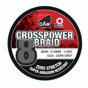 Pletená Šňůra DAM Crosspower 8-Braid Dark Grey 3000m 0,13mm/7,2kg