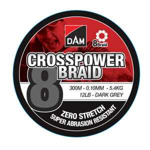 Pletená Šňůra DAM Crosspower 8-Braid Dark Grey 3000m 0,22mm/13,5kg