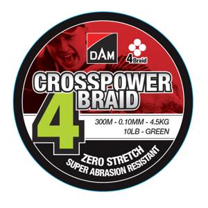 Pletená Šňůra DAM Crosspower 4-Braid Green 300m 0,22mm 11,3kg