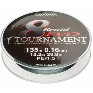 Pletená Šňůra Daiwa Tournament 8 Braid EVO 300m Dark Green 0,16mm/12,2kg