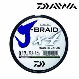 Pletená Šňůra Daiwa J-Braid 4 Tmavě Zelená 135m 0,29mm/18,6kg